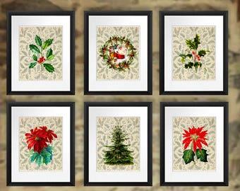 Christmas Decor Art Prints set of 6 unframed Christmas wall art, Holly branch art, Poinsettia wall art, Christmas tree wall art, Santa Art