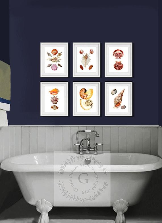 Seashells Bathroom Set Of 6 Art Prints Beach Bathroom Decor Etsy