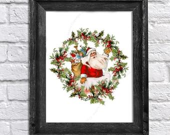 Christmas Decor Santa Claus Holly Wreath Art print - Christmas art print - Santa Claus Print #1