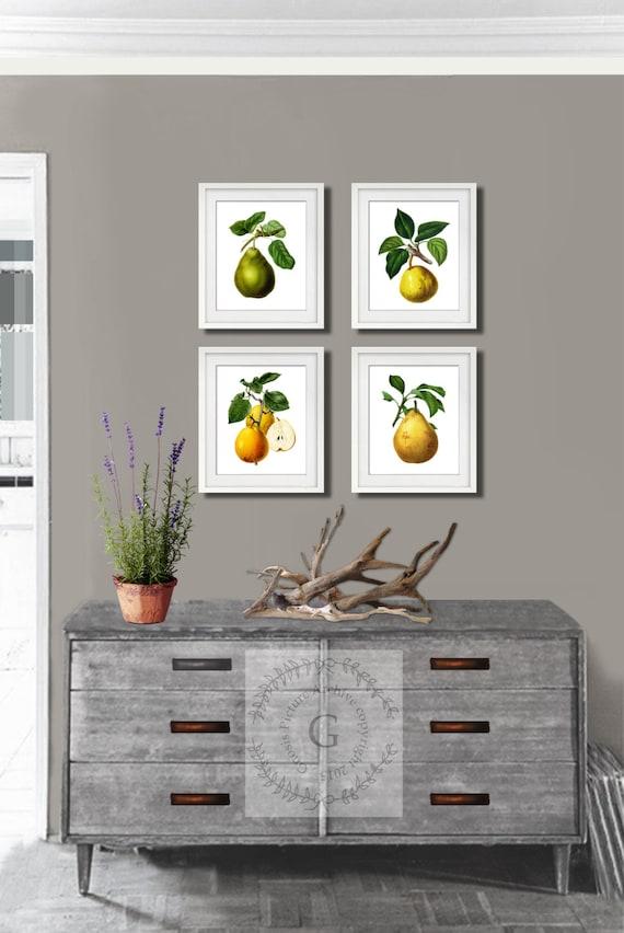 Fruits Botanical Kitchen Art No.02 Home Wall Art Print Set of 4 Prints UNFRAMED