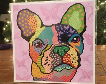 "Chicklet the Frenchie - French Bulldog print ""8 x 8"""
