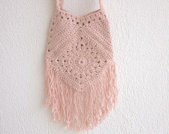 Natural Bag,Powder and  Ecru Cotton Tote, Shoulder Bag, cross body, long, Crochet Bag,
