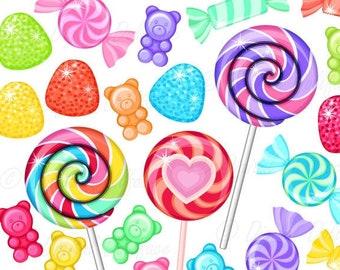 Rainbow Candy Clipart, Sweet Shop Birthday Candy Clip Art, Lollipops, Gumdrops, Gummy Bears