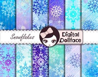 "Winter Snowflake Digital Paper, ""Let it Snow"" Digital Paper / Blue Christmas Printable"