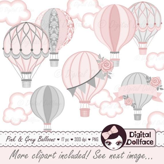Hot Air Balloon Baby Shower Digital Clip Art Commercial Use Etsy