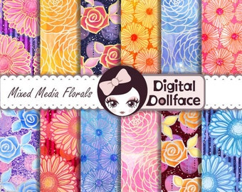 Watercolor Flower Digital Paper, Floral Birthday, Mixed Media Digital Scrapbook Paper, Printable Glitter / Foil Paper