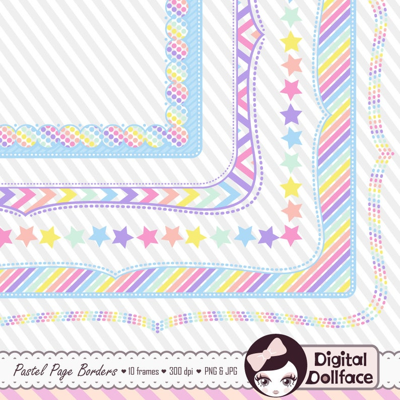 Digital Clipart Frame Pastel Rainbow Party Graphics Doodle Etsy