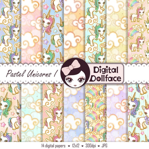 Unicorn background digital cute kawaii paper printable - Scrapbook background free printables ...
