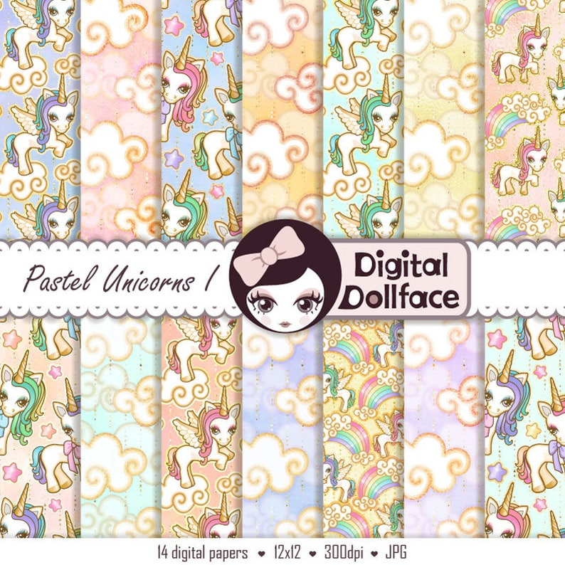 Digital Printable Scrapbook Paper Unicorn Background Cute Kawaii Paper