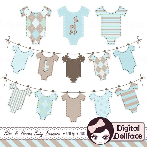 Baby Clothes Banner Clipart Baby Boy Clip Art Bunting Etsy