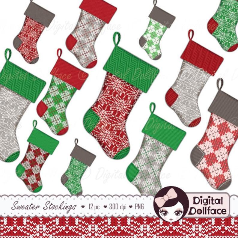 Weihnachts Strumpf Clipart Digitale Weihnachten Clipart Etsy