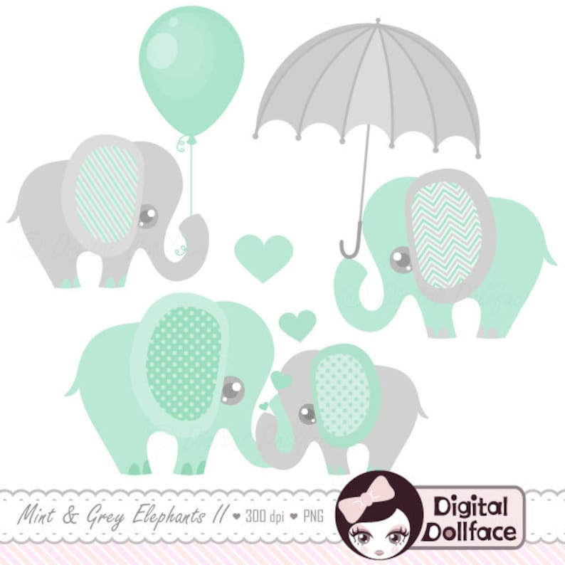 graphic relating to Printable Elephant Baby Shower named Boy or girl Elephant Decor Clipart / Printable Elephant Boy or girl Shower Clip Artwork, mint and gray