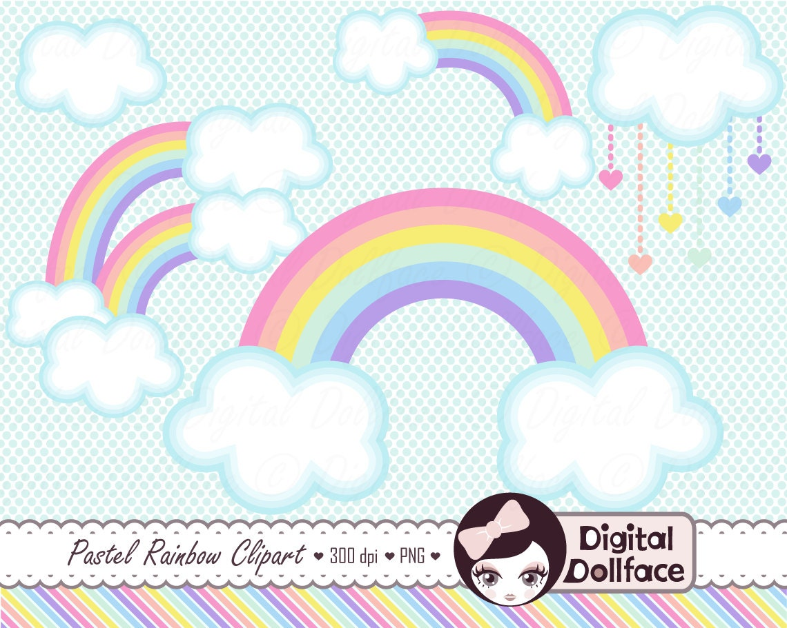 Pastel Rainbow Clip Art Clouds Clipart Spring Graphics | Etsy