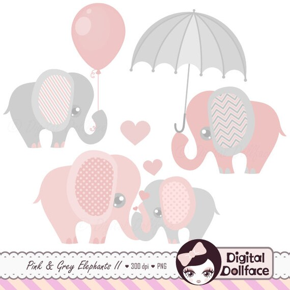 Pink And Grey Elephant Clip Art Elephant Baby Shower Etsy