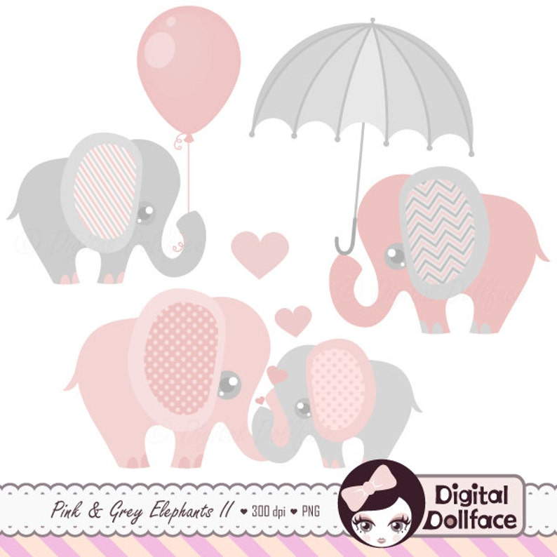 Pink and Grey Elephant Clip Art Elephant Baby Shower | Etsy