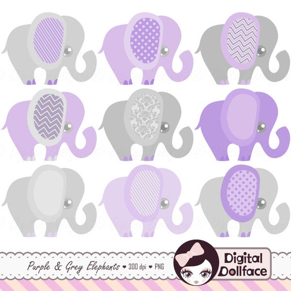 Gianna S Pink And Gray Elephant Nursery Reveal: Purple Elephant Baby Shower Clip Art Purple And Grey Cute