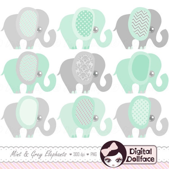 Mint Green Elephant Clipart Baby Shower Mint And Grey Nursery Etsy