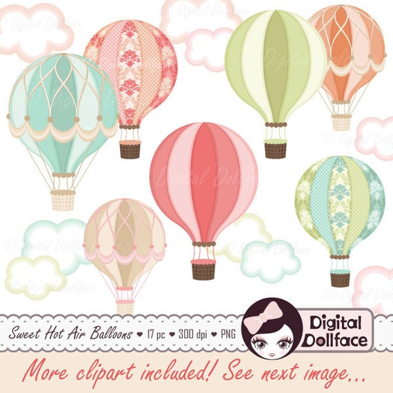 Digital Hot Air Balloon Clipart Hot Air Balloon Party Etsy