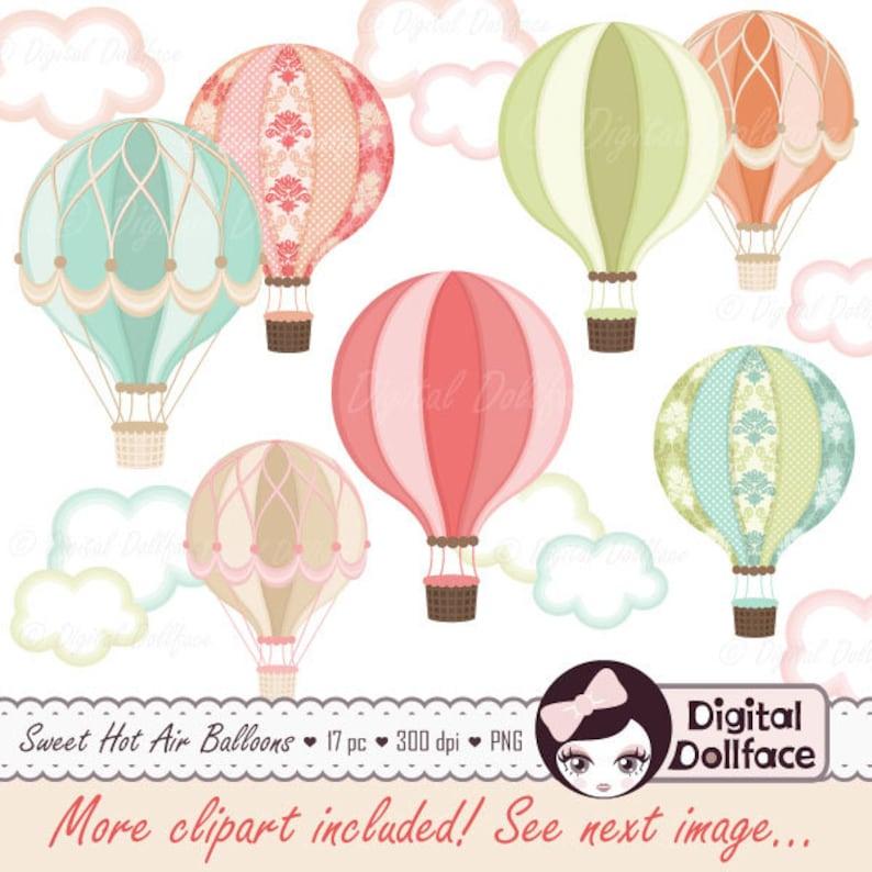 Digital Hot Air Balloon Clipart Hot Air Balloon Party image 0