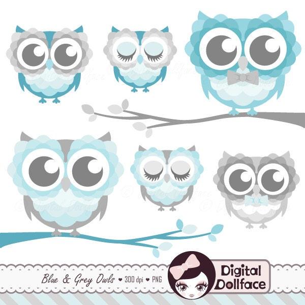 Baby Shower Owl Clipart Digital Cute Blue Owl Clip Art | Etsy