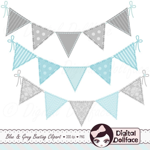Blue Bunting Garland Clipart Baby Boy Banner Clip Art For Etsy