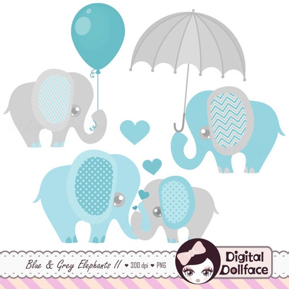 Baby Boy Elephant Clipart Cute Elephant Clip Art Images | Etsy