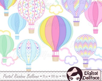 Up, Up and Away Baby Shower Clipart, Hot Air Balloon Clip Art, Rainbow Pastel Balloons