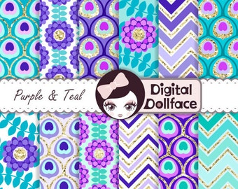 Purple and Teal Digital Paper, Peacock Wedding, Purple Turquoise, Digital Paper, Commercial Use