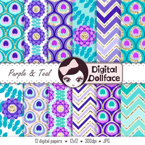 Purple And Teal Digital Paper Peacock Wedding Purple Turquoise