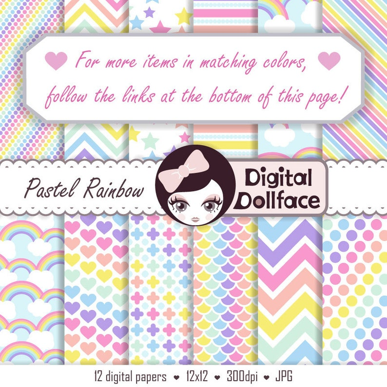 Rainbow Pastel Clipart Stitched Heart Graphics Cute Clip ...