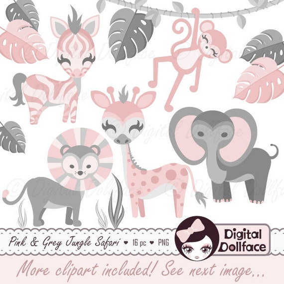 Pink Jungle Baby Shower Clip Art Safari Animals Baby Safari