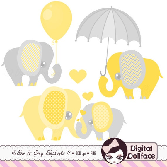 Elephant Baby Shower Clipart Baby And Mommy Elephant With Etsy