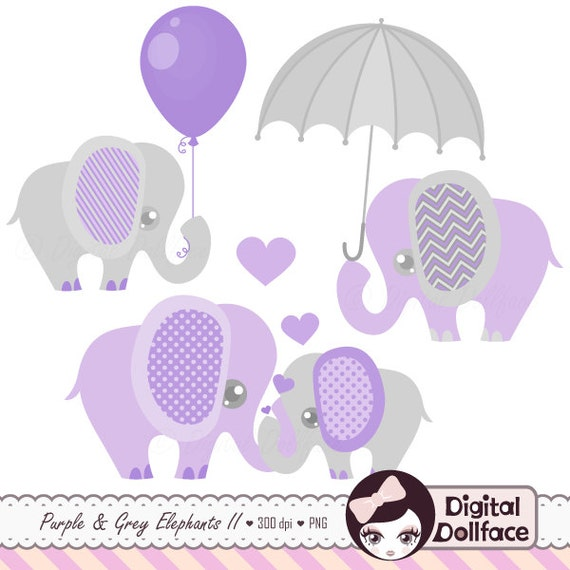 Purple And Grey Baby Shower Elephants Clipart Digital Etsy