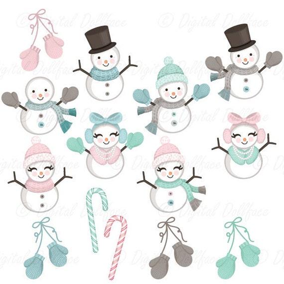 Weihnachten Schneemann Clipart Schnee Winter Clipart Etsy