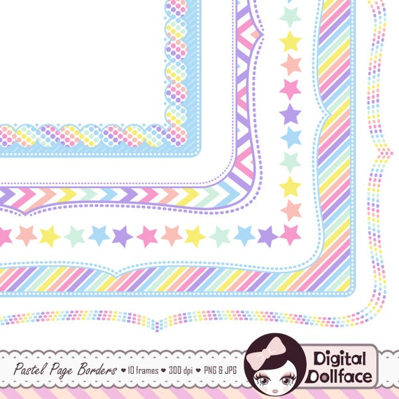 digital clipart frame pastel rainbow party graphics doodle etsy rh etsy com Artist Clip Art Cute Clip Art