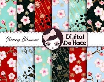 "Japanese Digital Paper, ""Cherry Blossom"" Digital Paper, Art Printables (Pattern Design) Scrapbook Paper"