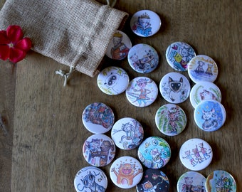 Fun Cat Button, Keychain, or Magnet Packs