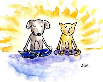Yoga Cat and Dog Card