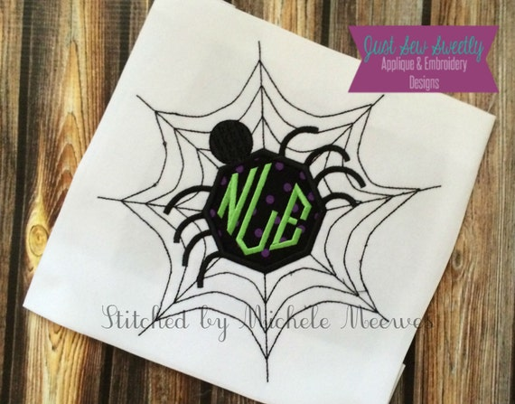 Spider monogram halloween applique design embroidery machine etsy