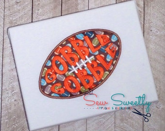 Thanksgiving Football Applique Design - Embroidery Machine Pattern - Gobble Turkey