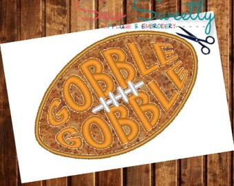 Gobble Gobble Turkey Football Applique Design - Embroidery Machine Pattern - Thanksgiving