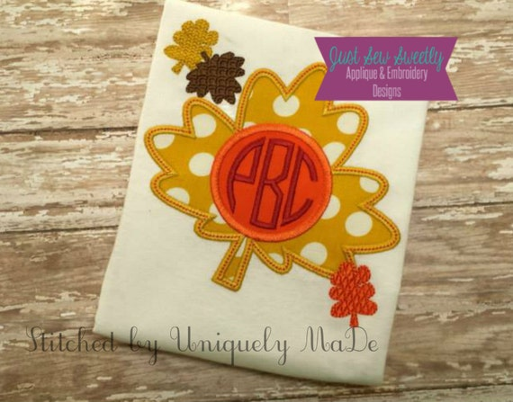 Fall autumn leaves monogram frame applique design embroidery etsy