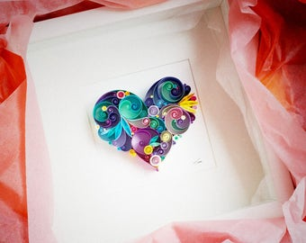 Love is All Around Quilling Art - Unique gift for Anniversary, Paper anniversary, Wedding gift, July birthday gift, Best Friend Gift