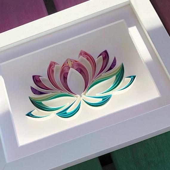 Lotus Flower Quilling Art Handmade Gift February Birthday Etsy
