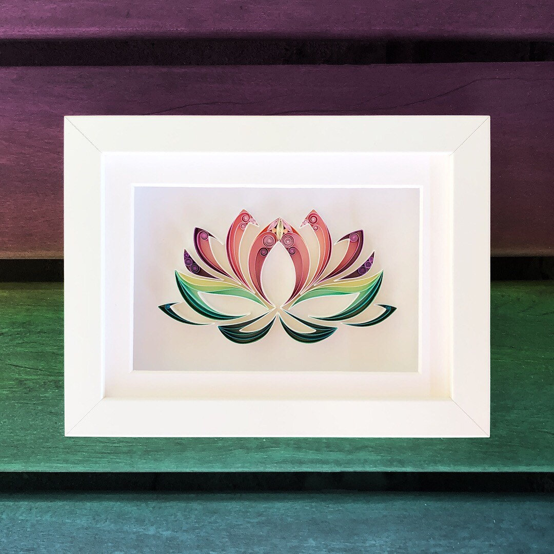 Lotus flower quilling art handmade gift december birthday etsy zoom izmirmasajfo