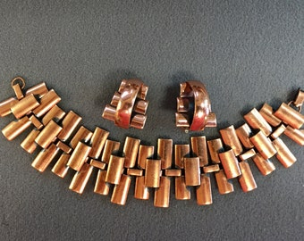 Renoir Copper Link Bracelet and Clip Earrings.  Free shipping