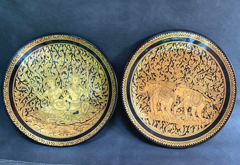 Pair of Large Black Lacquer and Gold Leaf Paper Mache\u2019 Indian Decorative Plates-13 Inches Across.