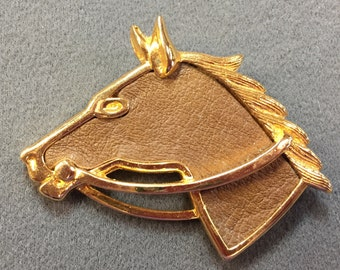 Horse Brooch With Leather Accents-Unusual!  Free shipping