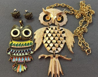 Funky Vintage Owl Jewelry-Necklace, Pendant, and Pierced Earrings
