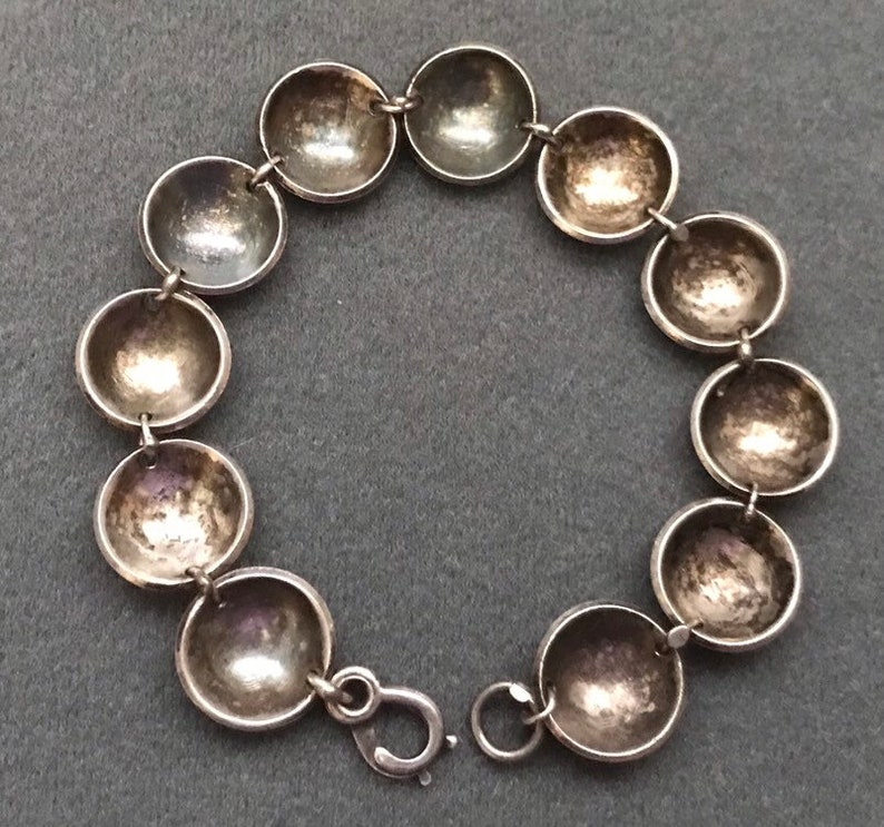 Old Sterling Silver Handmade Silver Dome Link Bracelet Free shipping.